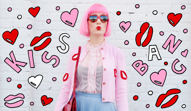 saraisinlovewith_vivetta_lips_cardigan_kisses_babyblue_leather_skirt_tattydevine_planet_ring_meandzena_heart_choker_streetstyle_blogger_look